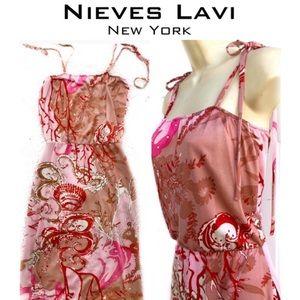 NIEVES LAVI 70's Style Boho Blouson Pocket Dress S